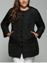 Plus Size Topstitched Pocket Design Coat - BLACK