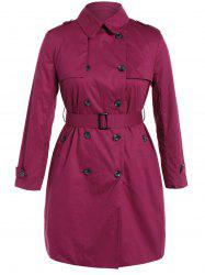 Plus Size Double-Breasted Tie-Waist Trench Coat - ROSE RED