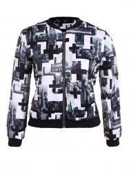 Plus Size Zippered City Print Jacket -