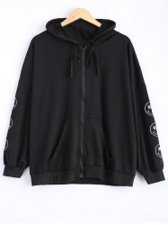 Plus Size Smile Embroidered Jacket with Hood - BLACK 4XL