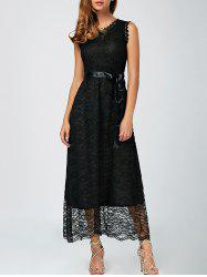 Lace A Line Long Prom Dress - BLACK
