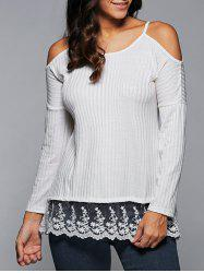 Cold Shoulder Laciness Long Sleeve T-Shirt -