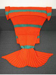 Super Soft Crochet Knitting Striped Mermaid Blanket -