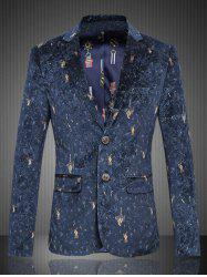 Graphic Single-Breasted Flap Pocket Blazer -