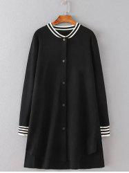 Girl Applique Striped Asymmetric Bomber Coat - BLACK