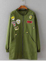 Patterned Applique Twin Pockets Coat - ARMY GREEN