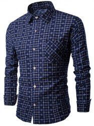 Long Sleeve Pocket Design Plaid Shirt
