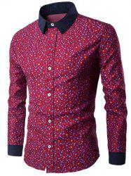 Long Sleeve Contrast Collar Bubble Print Shirt - WINE RED 3XL