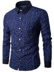 Long Sleeve Contrast Collar Bubble Print Shirt - CADETBLUE