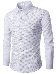 Spliced Long Sleeve Little Flower Print Shirt - WHITE 3XL