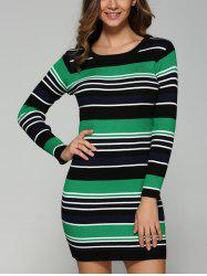 Extensible Multicolor Striped Slim Dress -