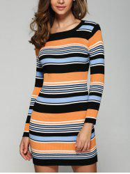 Stretchy Multicolor Striped Slim Dress -