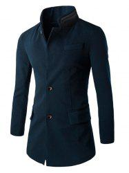 Slim-Fit Double Collar Flap Pocket Coat