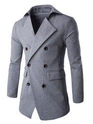 Slim Double Breasted Notched Collar Coat -