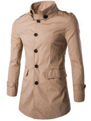 Slim Button-Down Collar Epaulet Design Coat - KHAKI