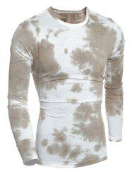 Crew Neck Tie-Dyed Muscle Long Sleeve T-Shirt