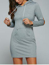 Kangaroo Pocket Hoodie Dress with Elbow Patch - BLUE GRAY