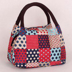 Plaid Pattern Polka Dot Color Block Tote Bag - RED