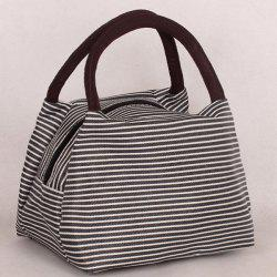 Nylon Pinstripe Color Splicing Tote Bag - WHITE AND BLACK