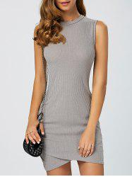 Asymmetric Bodycon Sleeveless Jumper Dress - GRAY