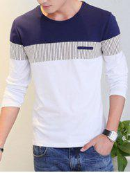 Striped Color Splicing Round Neck Long Sleeve T-Shirt