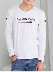 Sleeve Neck Lettre d'impression ronde long T-shirt -
