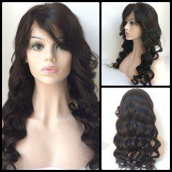 Long Side Bang Loose Wave Lace Front Human Hair Wig - BLACK