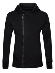 Gloves Design Side Zip Up Long Sleeve Hoodie - BLACK 2XL