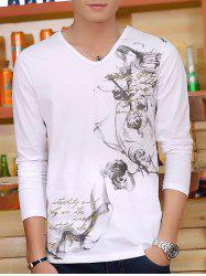 Ink Printing V Neck Long Sleeve T-Shirt -