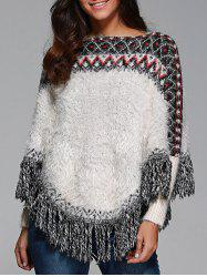 Warm Wave Stripe Tassel Cloak Sweater - WHITE