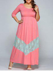 Lace Spliced High Waist Maxi Dress -