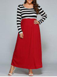 Long Sleeve Striped Pluse  Size Maxi Dress
