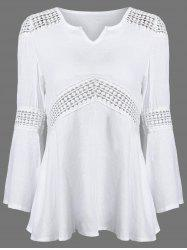 Lace Splicing V Neck Tunic Blouse -