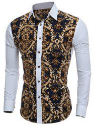 Slim-Fit Digital Print Shirt - WHITE