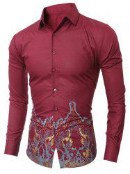 Slim-Fit Vintage Printed Shirt - WINE RED 2XL