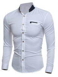 Contrast Button-Down Collar Slim Shirt -