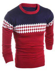 Slim Fit Crew Neck Geometric Sweater