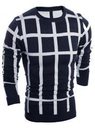 Slim Fit Crew Neck Plaid Sweater