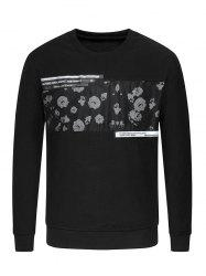 Crew Neck Flower Print Spliced Sweatshirt -