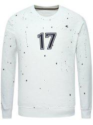 Crew Neck Paint Splatter 17 Printed Sweatshirt - WHITE 2XL