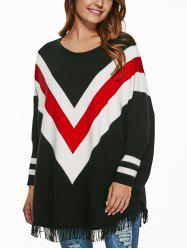 Batwing Sleeves Fringed Striped Pullover -