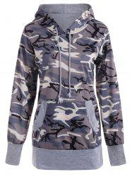 Long Sleeve Drawstring Camo Pullover Hoodie -