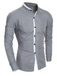 Color Block Edging Long Sleeve Grandad Chinese Collar Shirt - GRAY