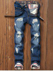 Star Print Hemming Design Distressed Zipper Fly Straight Leg Jeans -