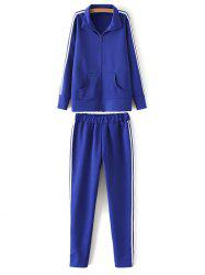 Zip Up Sports Jacket and Pants - SAPPHIRE BLUE