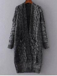 Open Front Cable Knit Oversized Cardigan -