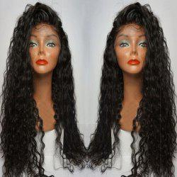Long Side Parting Curly Lace Front Human Hair Wig - BLACK