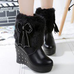 Bowknot Faux Fur Rivet Wedge Boots - BLACK