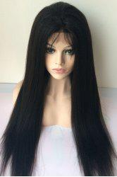 Long Yaki Straight Middle Parting Lace Front Human Hair Wig