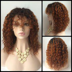 Medium Curly Neat Bang Lace Front Human Hair Wig - COLORMIX